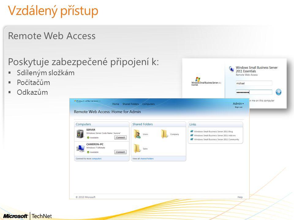 Vzdálený přístup Remote Web Access Poskytuje zabezpečené připojení k: