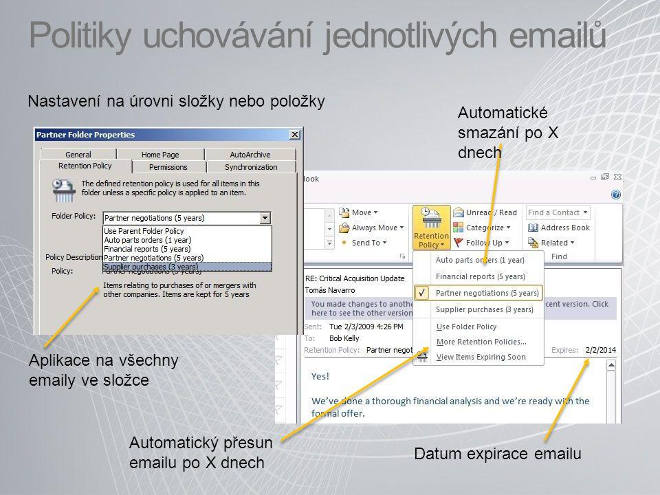 Politiky uchovávání jednotlivých emailů