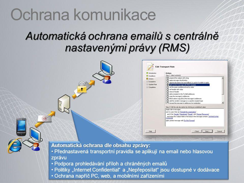 Automatická ochrana emailů s centrálně nastavenými právy (RMS)