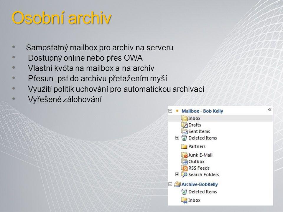 Osobní archiv Samostatný mailbox pro archiv na serveru