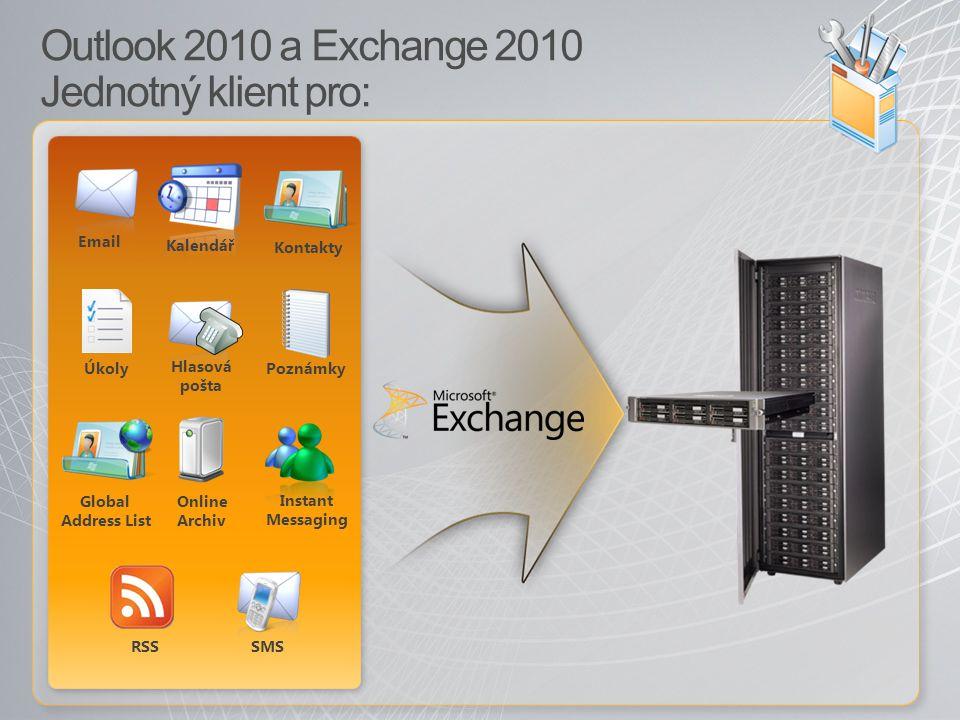 Outlook 2010 a Exchange 2010 Jednotný klient pro: Kalendář Email