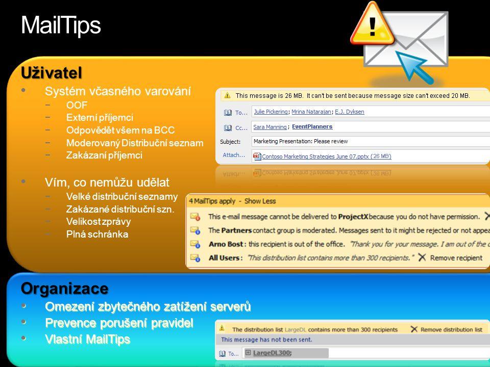 MailTips Uživatel Organizace Systém včasného varování
