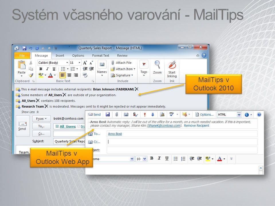 Systém včasného varování - MailTips