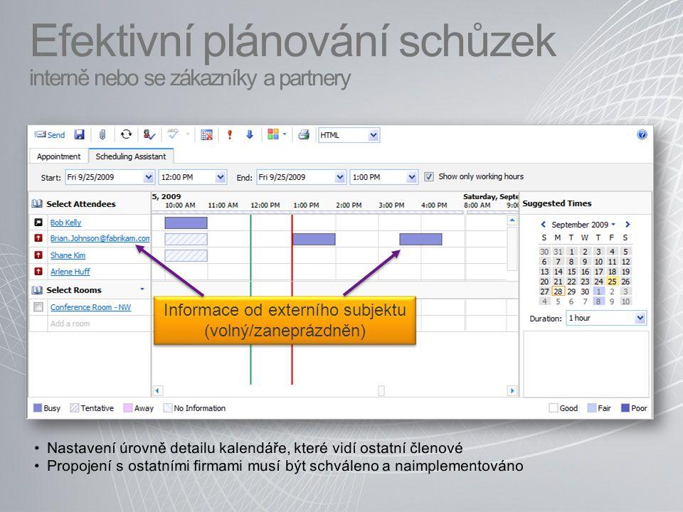 Efektivní plánování schůzek interně nebo se zákazníky a partnery