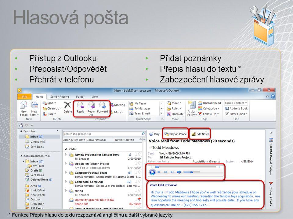 Hlasová pošta Přístup z Outlooku Přidat poznámky Přeposlat/Odpovědět