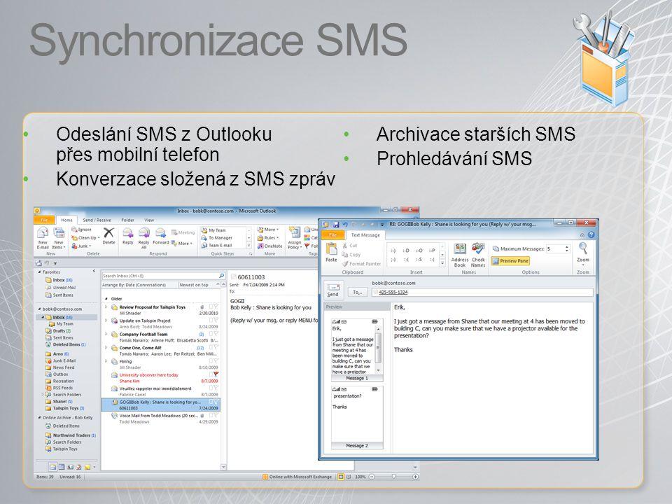 Synchronizace SMS Odeslání SMS z Outlooku přes mobilní telefon
