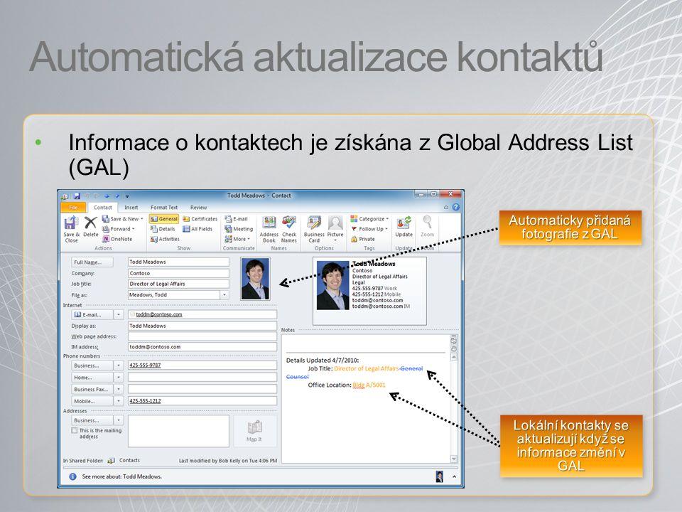 Automatická aktualizace kontaktů