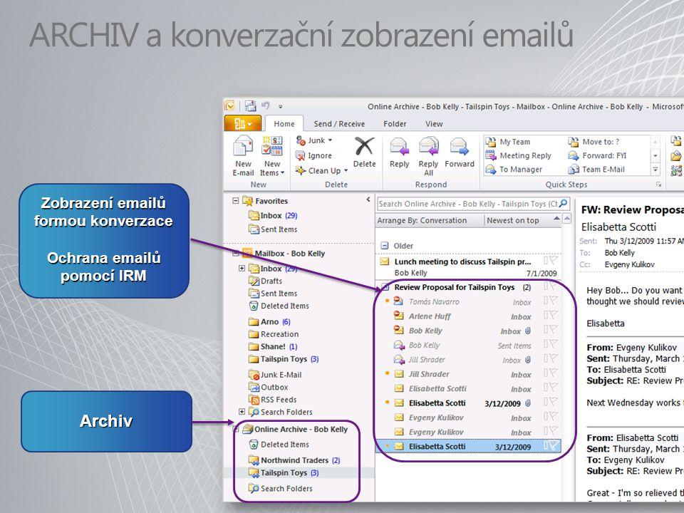 ARCHIV a konverzační zobrazení emailů