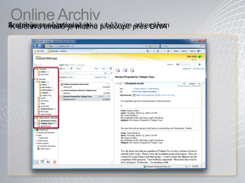 Online Archiv S archivem se pracuje jako s běžným adresářem
