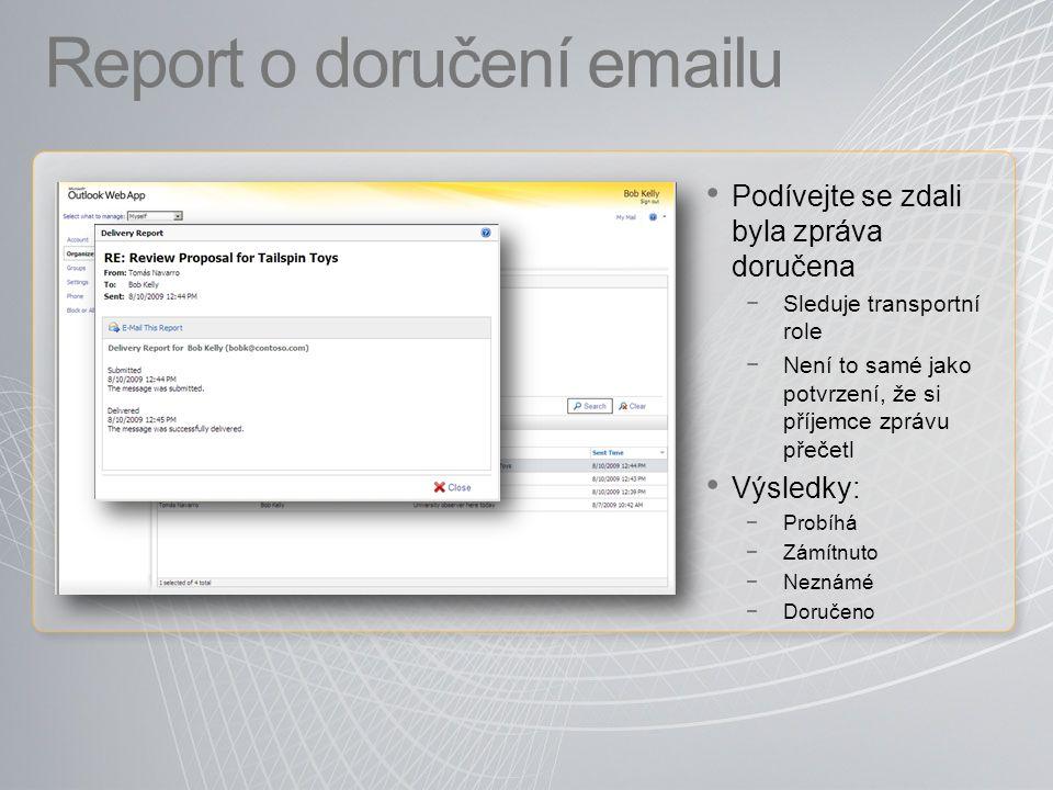 Report o doručení emailu