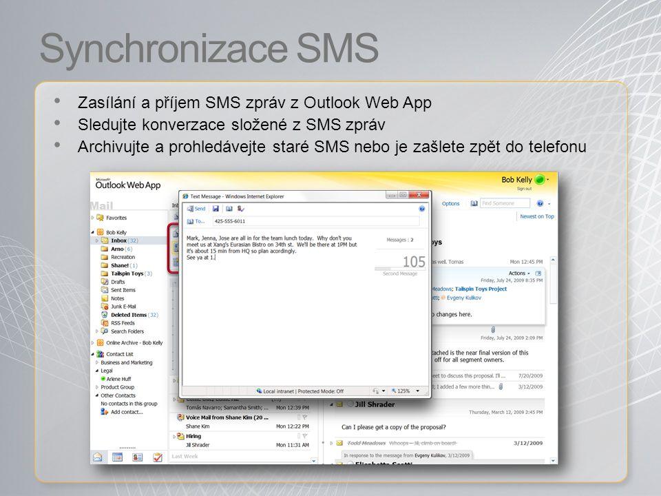 Synchronizace SMS Zasílání a příjem SMS zpráv z Outlook Web App