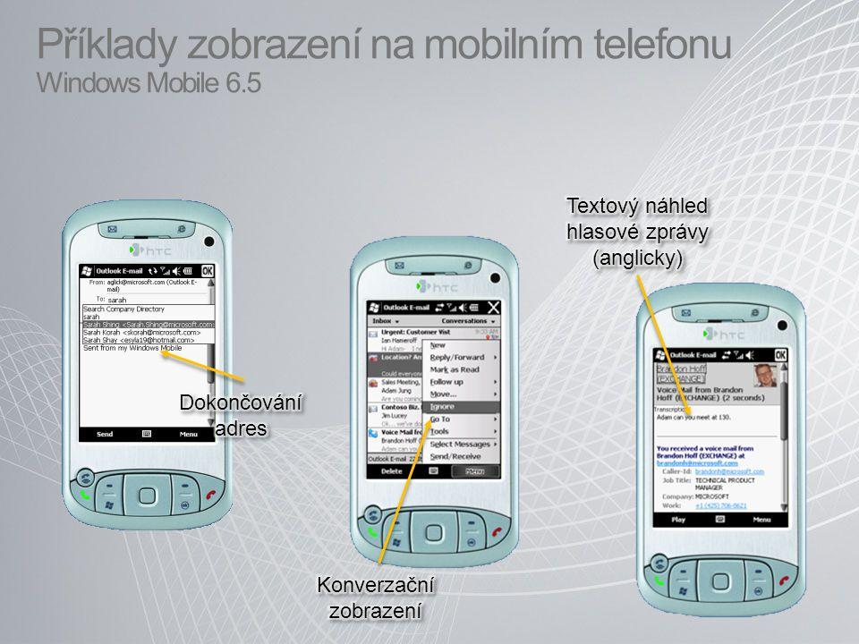 Příklady zobrazení na mobilním telefonu Windows Mobile 6.5