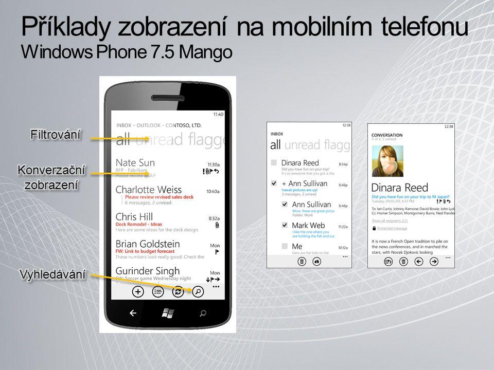 Příklady zobrazení na mobilním telefonu Windows Phone 7.5 Mango