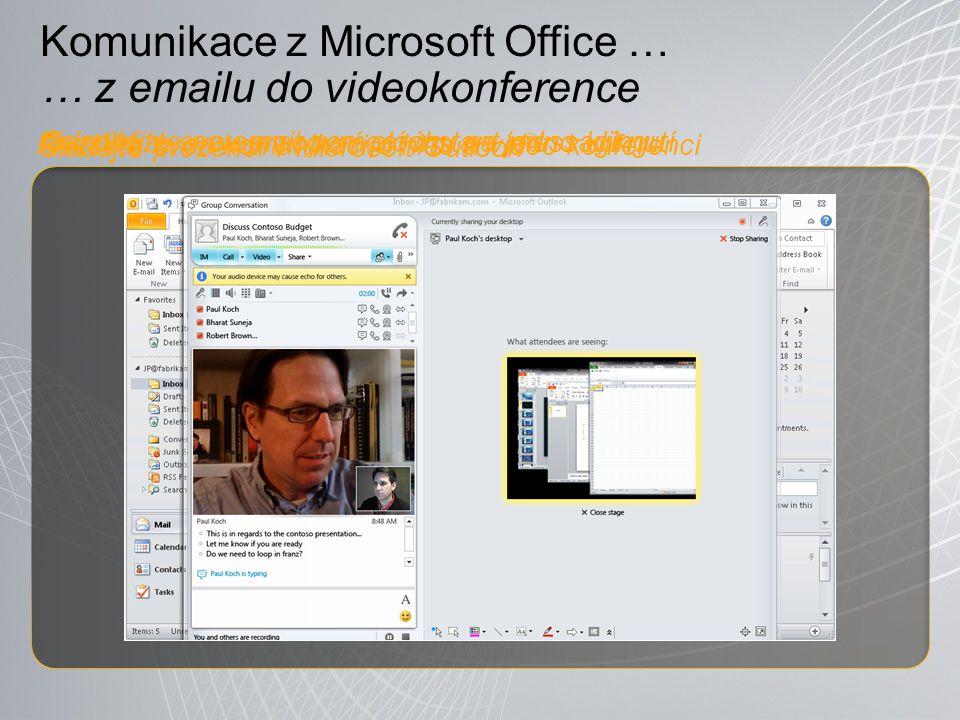 Komunikace z Microsoft Office … … z emailu do videokonference