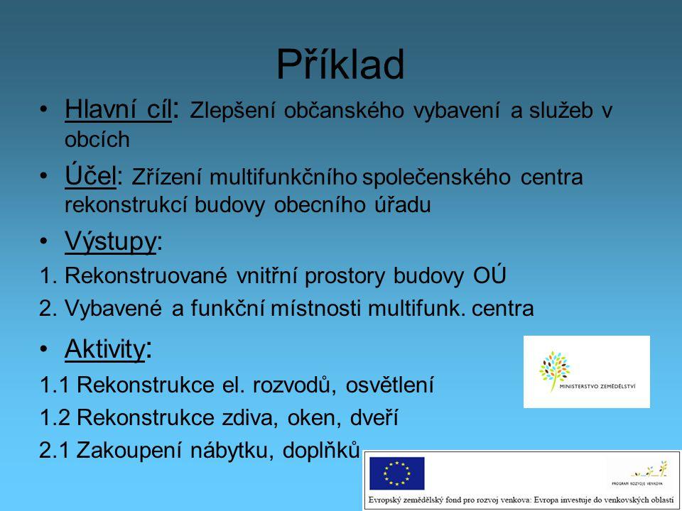 Příklad Hlavní cíl: Zlepšení občanského vybavení a služeb v obcích