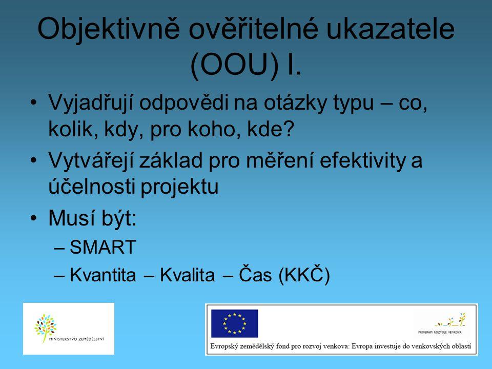 Objektivně ověřitelné ukazatele (OOU) I.