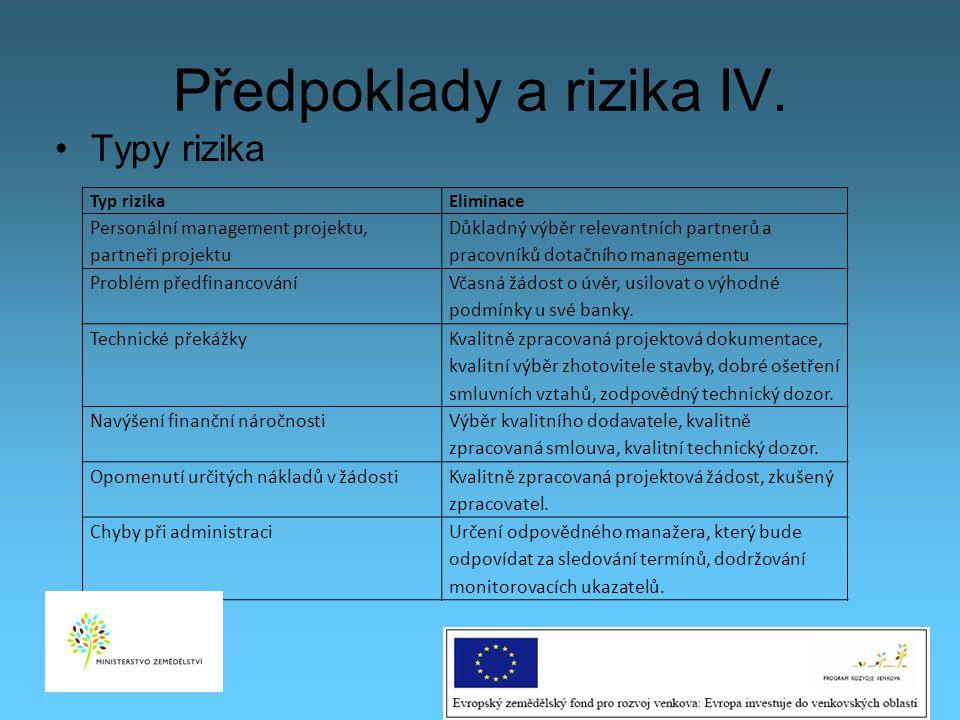 Předpoklady a rizika IV.