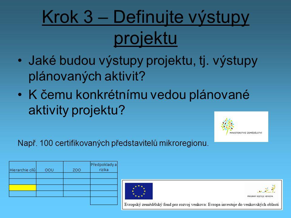 Krok 3 – Definujte výstupy projektu