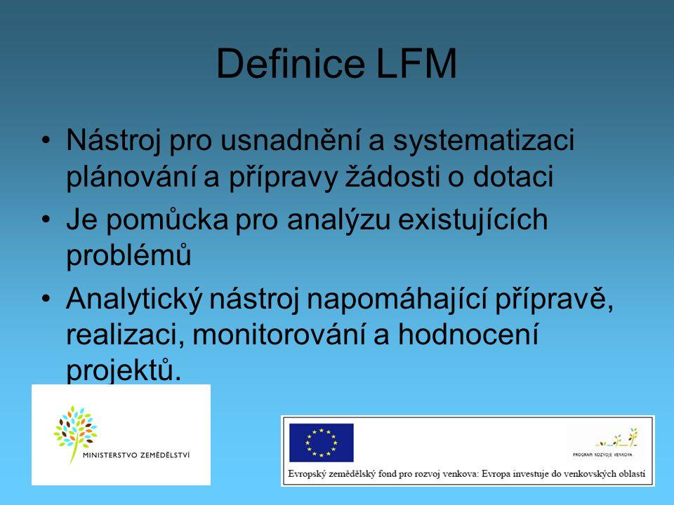 Definice LFM Nástroj pro usnadnění a systematizaci plánování a přípravy žádosti o dotaci. Je pomůcka pro analýzu existujících problémů.