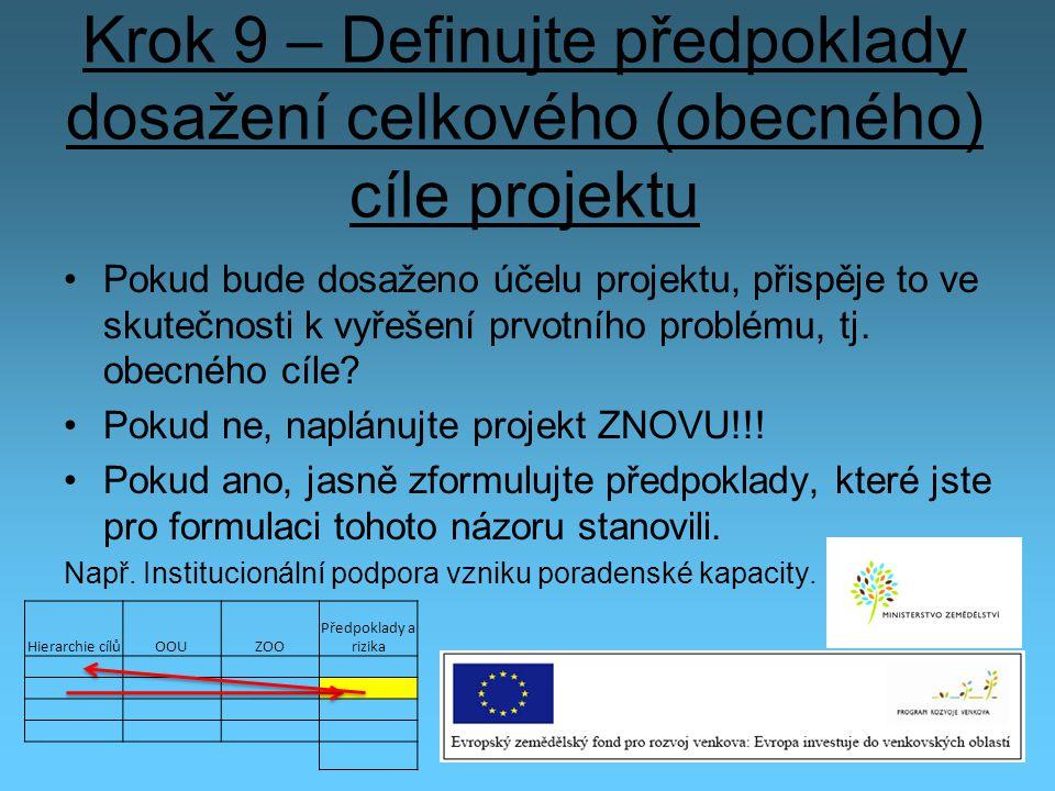 Krok 9 – Definujte předpoklady dosažení celkového (obecného) cíle projektu