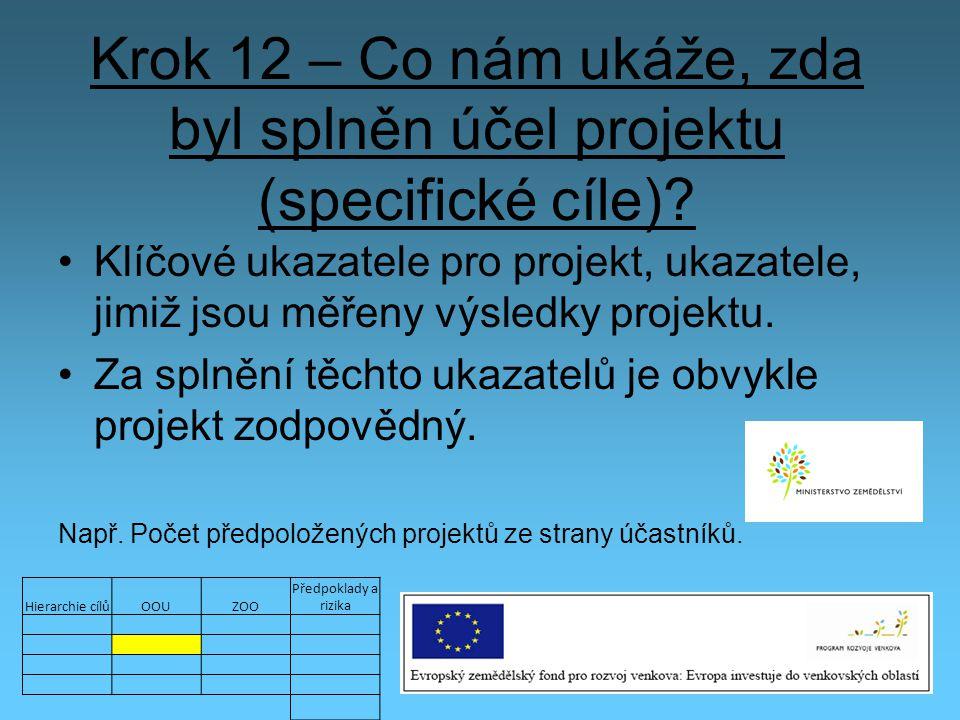 Krok 12 – Co nám ukáže, zda byl splněn účel projektu (specifické cíle)