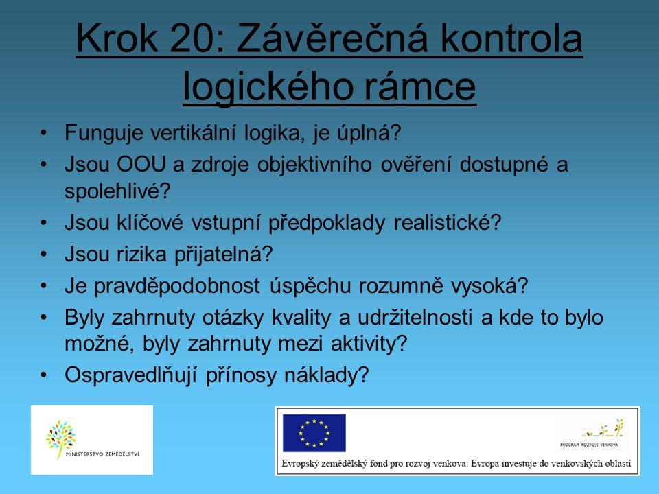 Krok 20: Závěrečná kontrola logického rámce