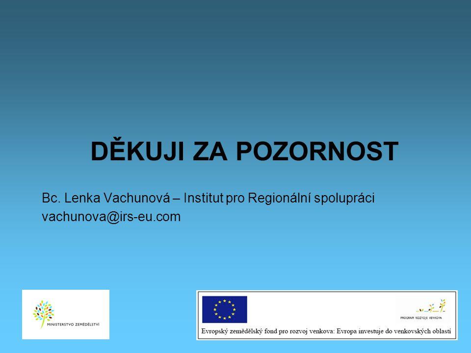 Děkuji za pozornost Bc. Lenka Vachunová – Institut pro Regionální spolupráci vachunova@irs-eu.com