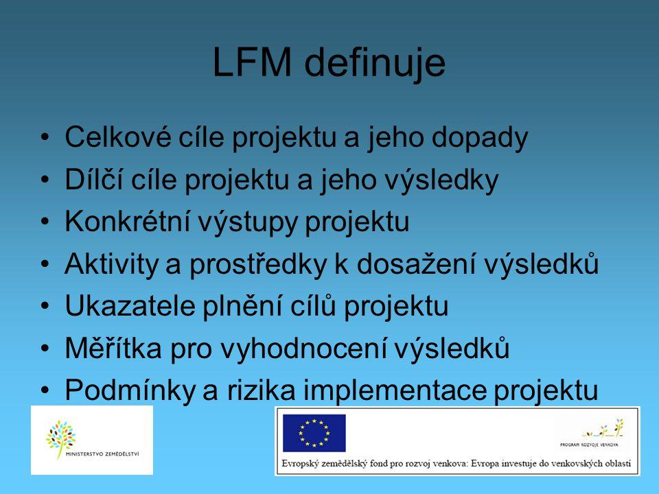 LFM definuje Celkové cíle projektu a jeho dopady