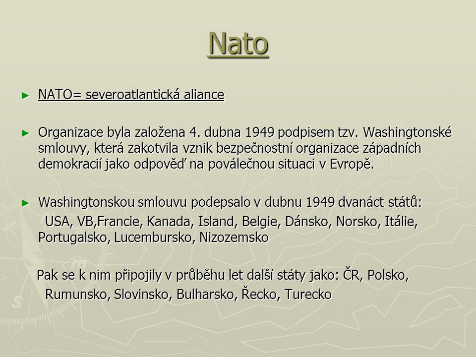 Nato NATO= severoatlantická aliance