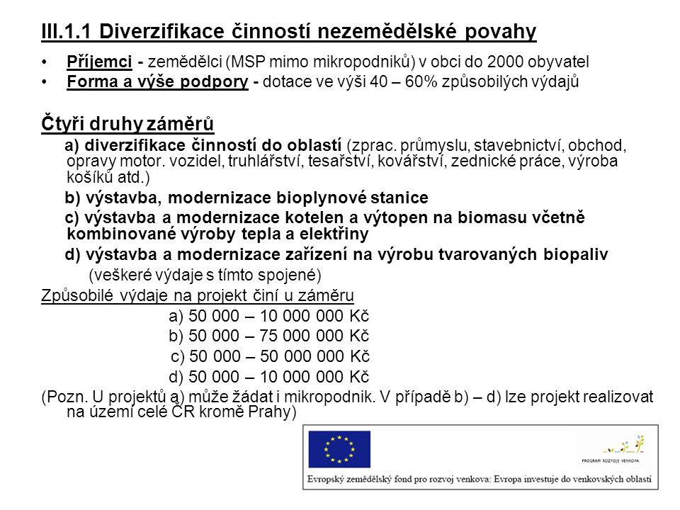 III.1.1 Diverzifikace činností nezemědělské povahy