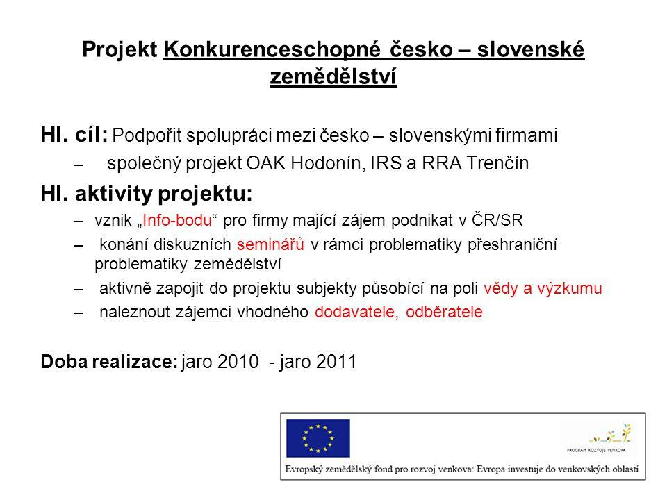 Projekt Konkurenceschopné česko – slovenské zemědělství