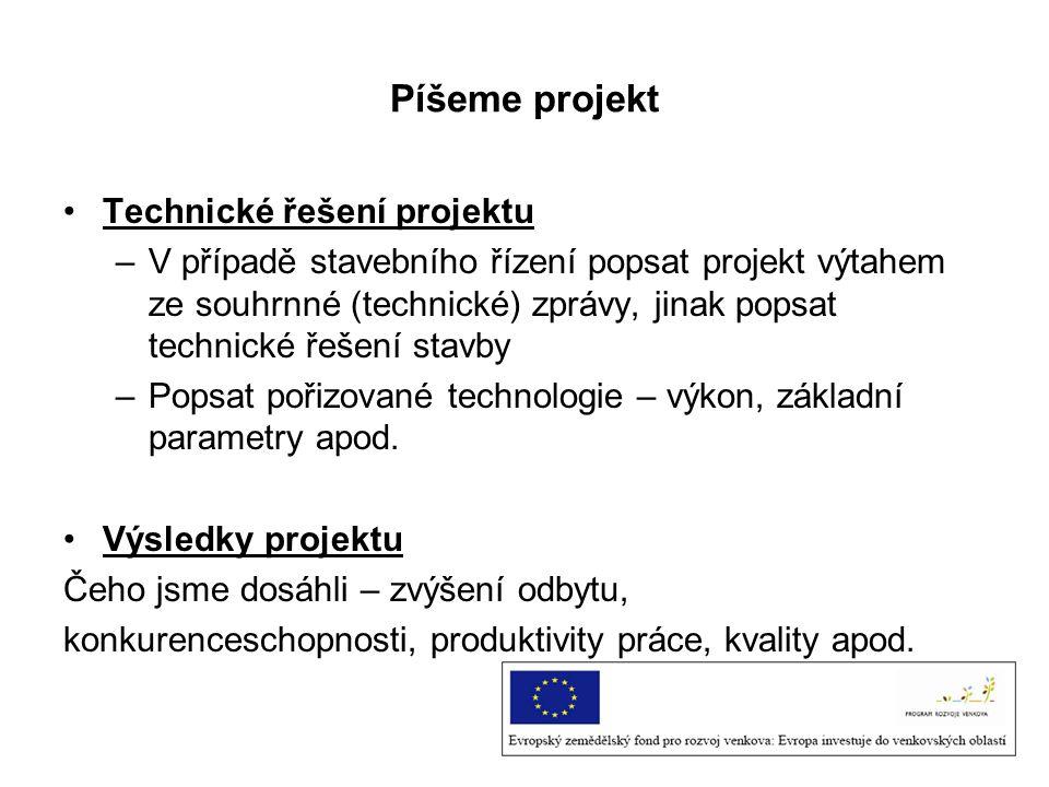 Píšeme projekt Technické řešení projektu