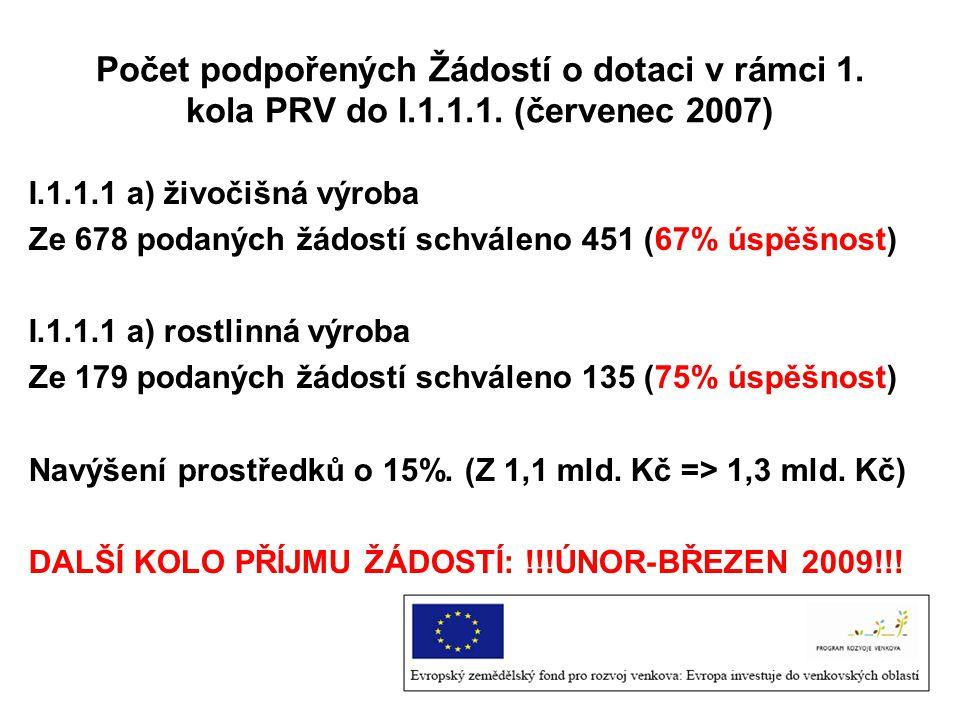Počet podpořených Žádostí o dotaci v rámci 1. kola PRV do I. 1. 1. 1