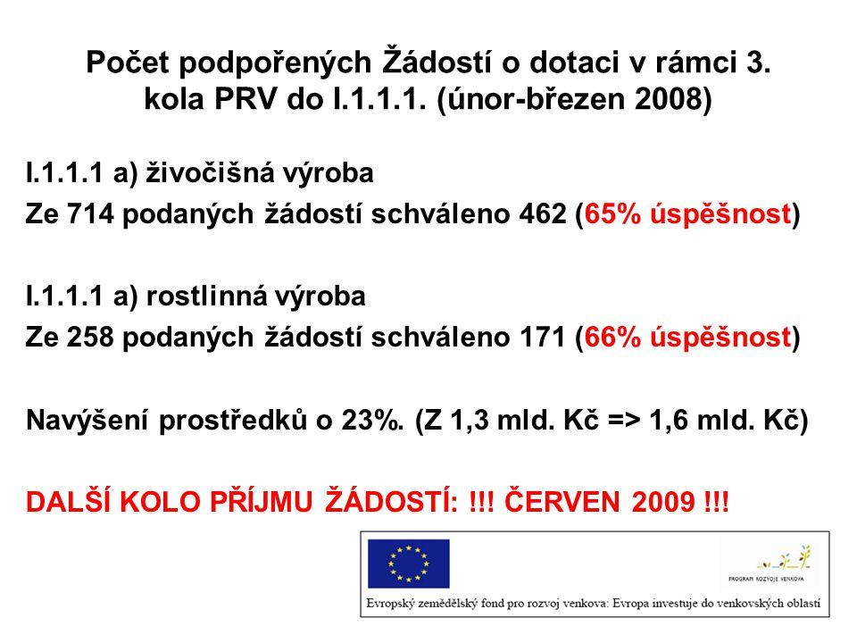 Počet podpořených Žádostí o dotaci v rámci 3. kola PRV do I. 1. 1. 1
