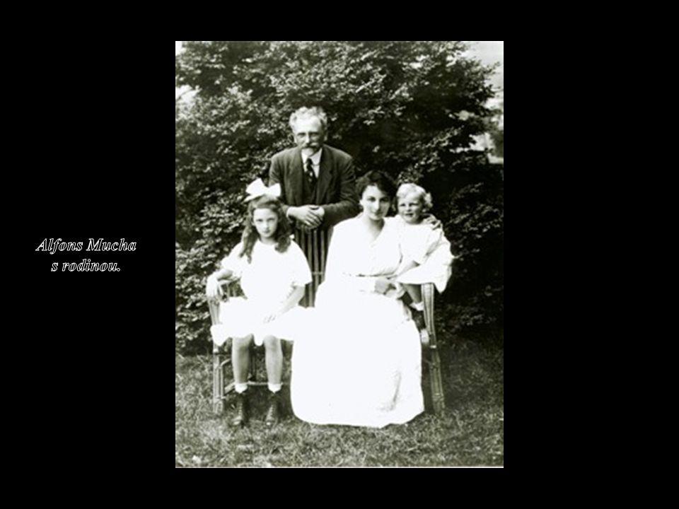 Alfons Mucha s rodinou.