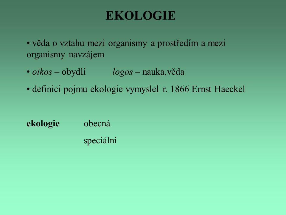 EKOLOGIE věda o vztahu mezi organismy a prostředím a mezi organismy navzájem. oikos – obydlí logos – nauka,věda.