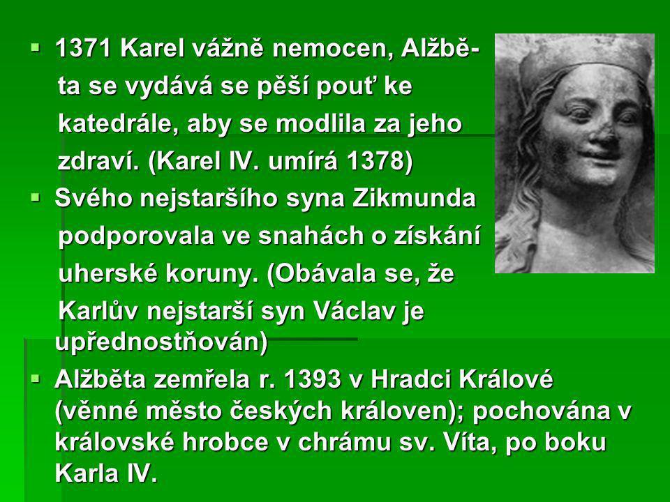 1371 Karel vážně nemocen, Alžbě-