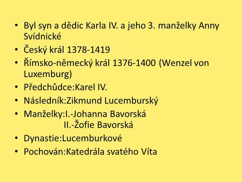 Byl syn a dědic Karla IV. a jeho 3. manželky Anny Svídnické