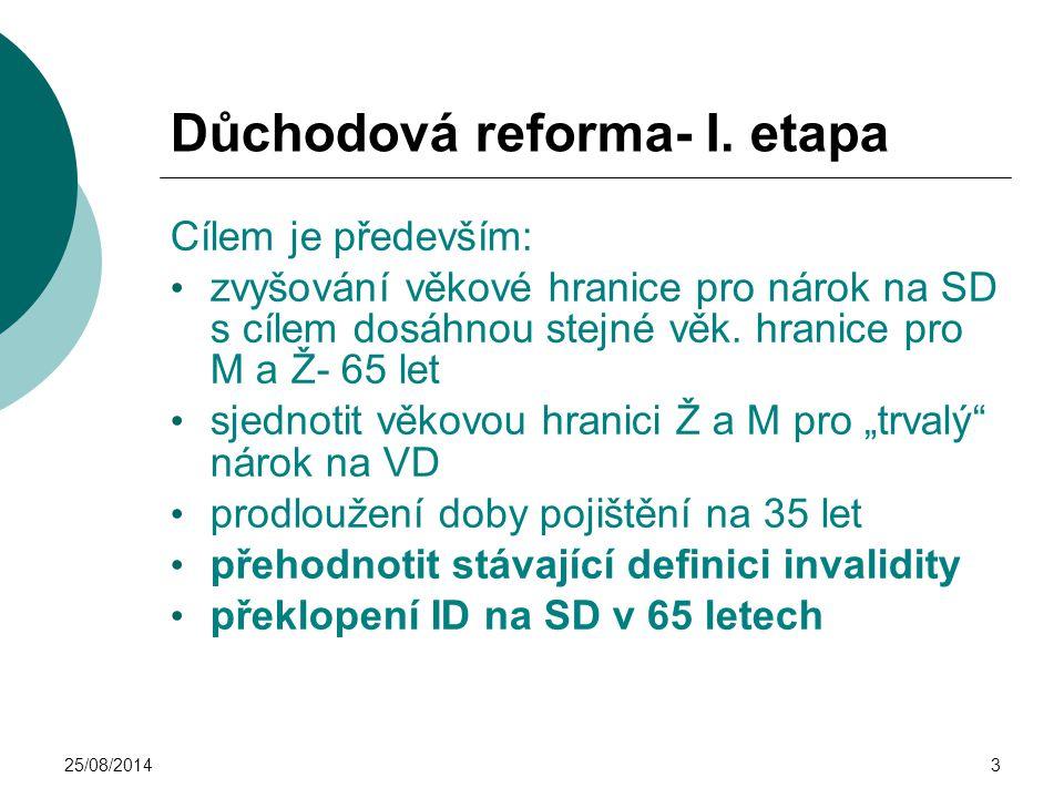 Důchodová reforma- I. etapa