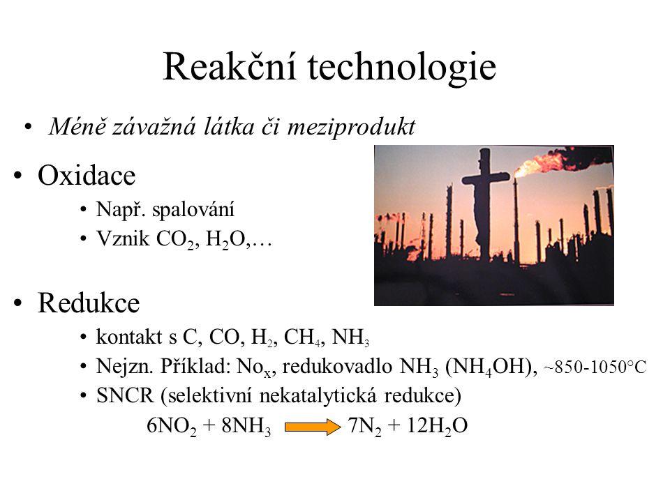 Reakční technologie Oxidace Redukce Méně závažná látka či meziprodukt