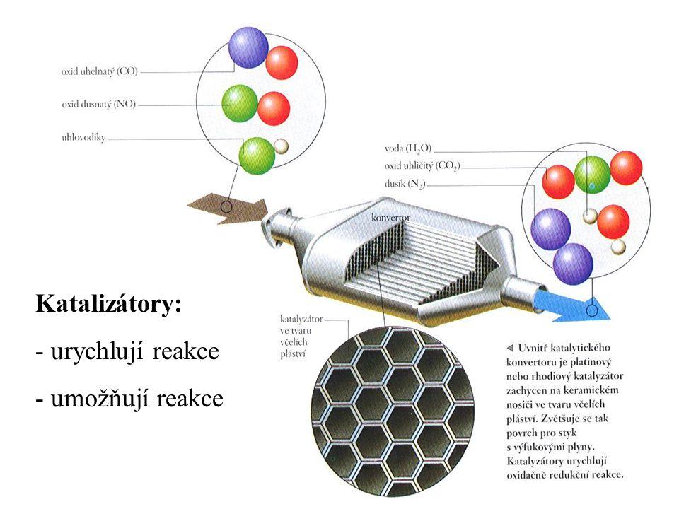 Katalizátory: urychlují reakce umožňují reakce