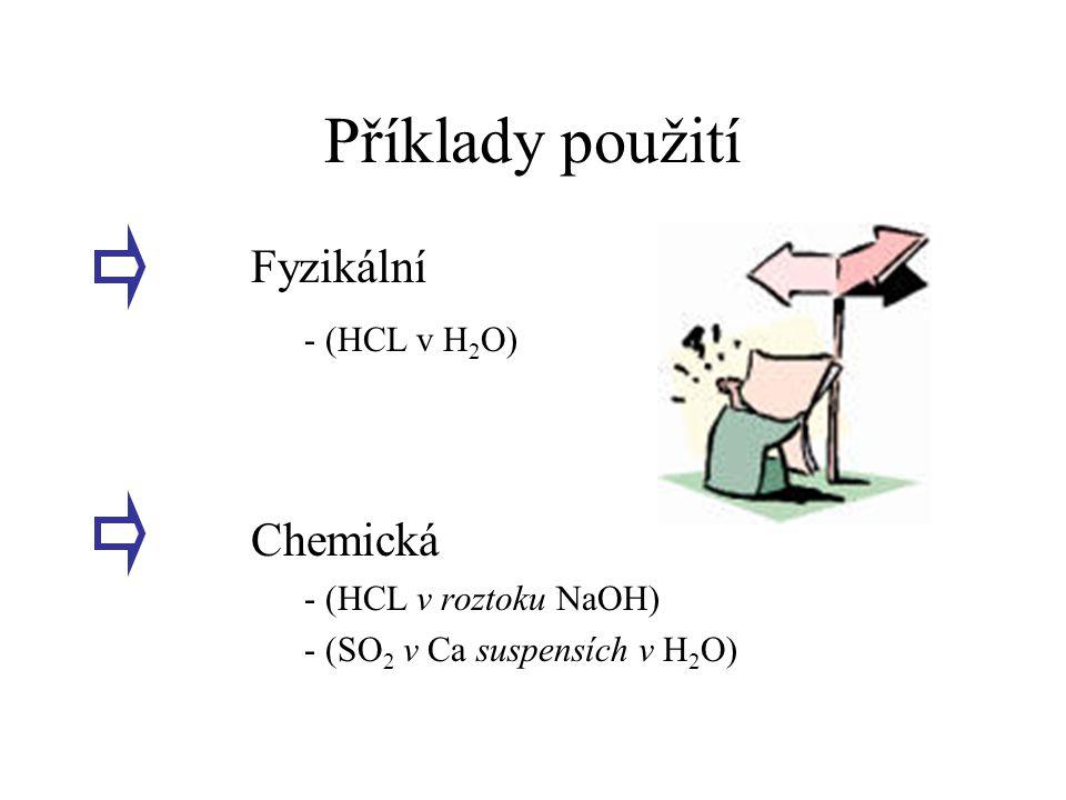 Příklady použití Fyzikální - (HCL v H2O) Chemická
