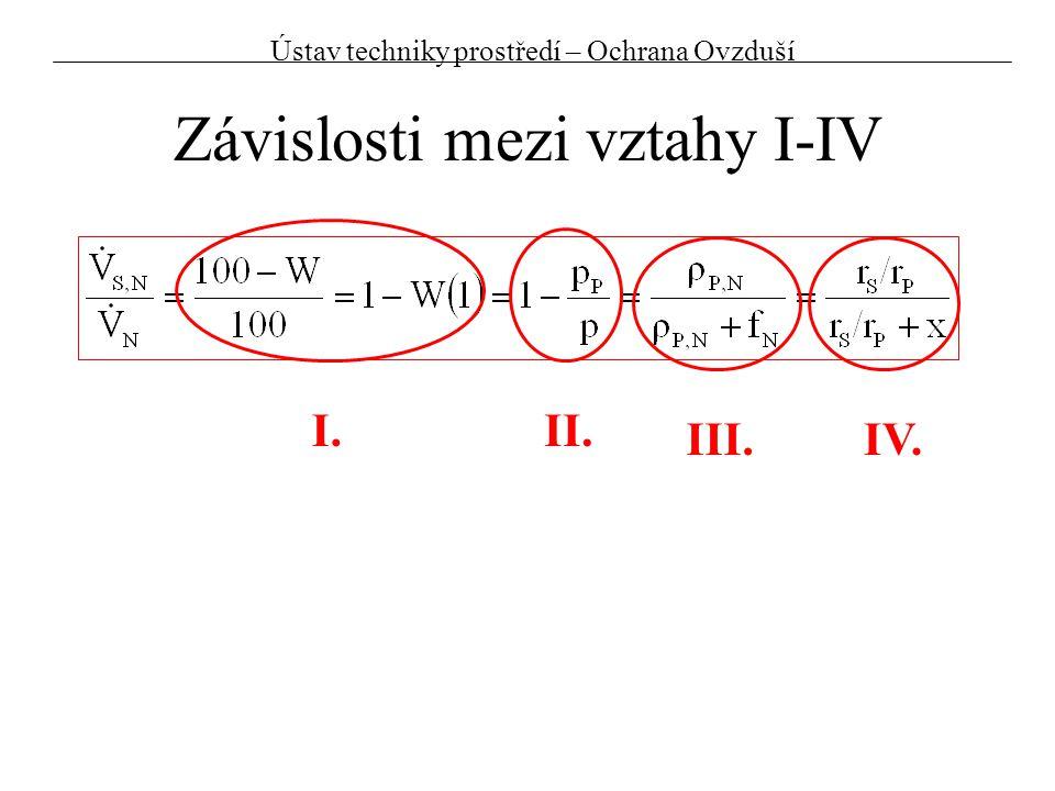 Závislosti mezi vztahy I-IV