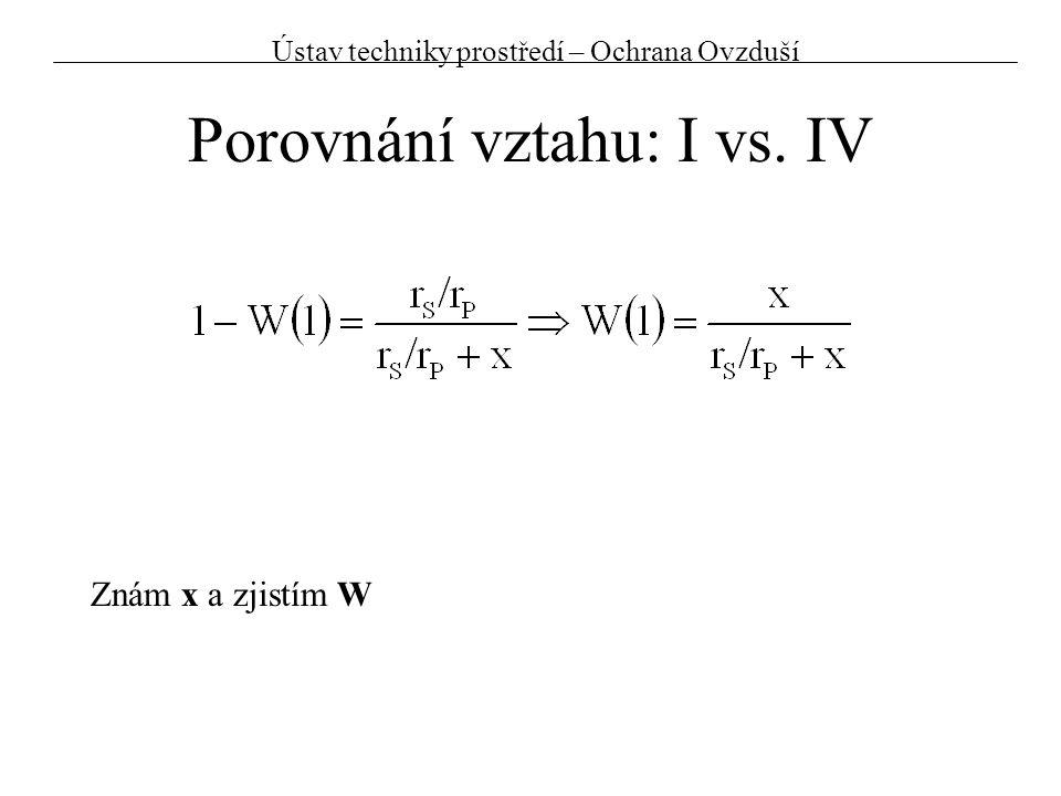 Porovnání vztahu: I vs. IV