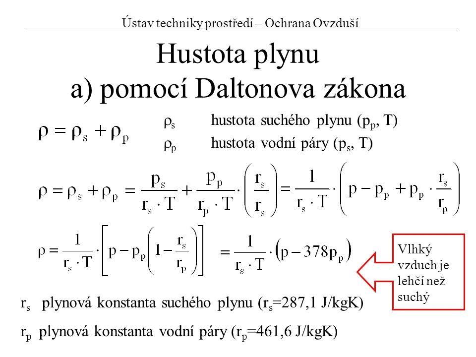 Hustota plynu a) pomocí Daltonova zákona