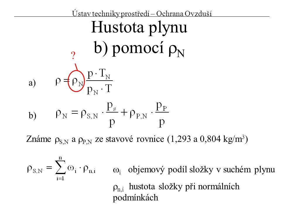 Hustota plynu b) pomocí rN