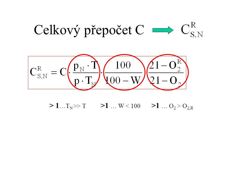 Celkový přepočet C > 1…TN >> T >1 … W < 100