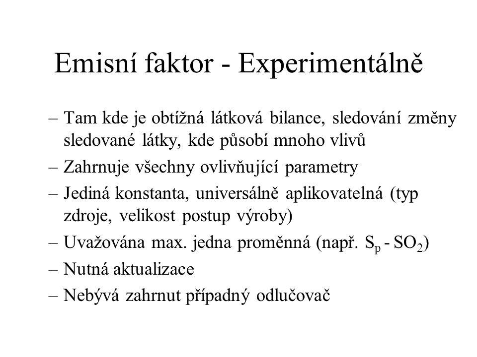 Emisní faktor - Experimentálně