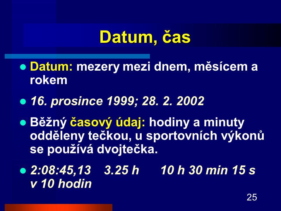 Datum, čas Datum: mezery mezi dnem, měsícem a rokem