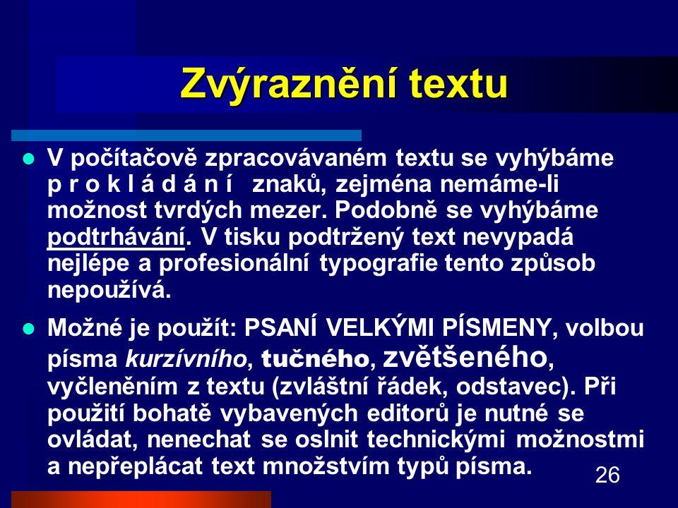 Zvýraznění textu
